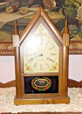 Seth Thomas, Sharon, Wood Steeple Clock with Pendulum