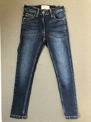 NEXT Girls Blue Skinny Jeans Adjustable Waist Age 7 - New With Tags