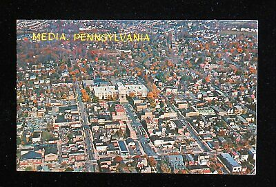 1974 Aerial View of Downtown showing Delaware County Court House Media PA PC
