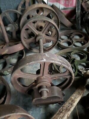 """Vintage Towsley Cast Iron Wheels Industrial Factory Cart Table  & axle / br 12"""""""