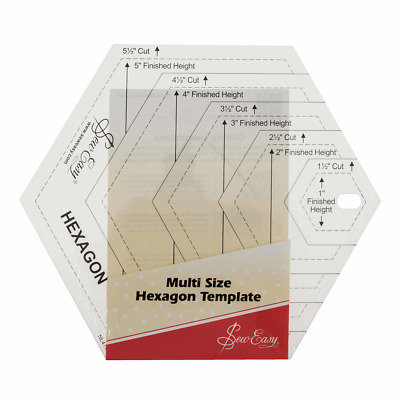Sew Easy Patchwork Quilting Ruler Multi Size Hexagon Template