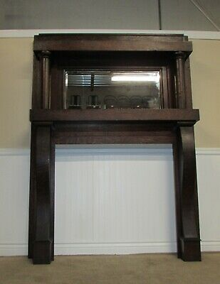 Antique Quarter Sawn Oak Mantle, Fireplace Mantel, Beveled Mirror, Empire Style