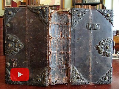 German Hymnal Gesang Book c.1740 binding with metal clasps and corners unique