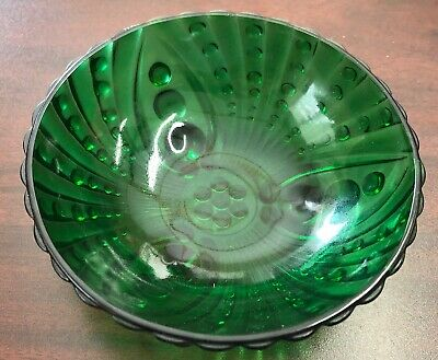 """Vintage Depression Emerald Green Glass Footed Candy Dish Bowl Dots 4 1/2"""" EUC"""