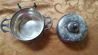 Antique Victorian Hartford Quadruple Silver Plate Co handled  butter dish