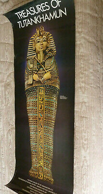 VTG 1976 Treasures of Tutankhamun King Tut Exhibition Museum Poster 48x18
