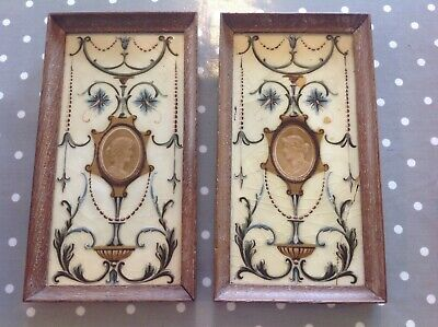 """Pair Of Lovely Old Victorian Picture Tiles Framed 12.5"""" X 7"""""""