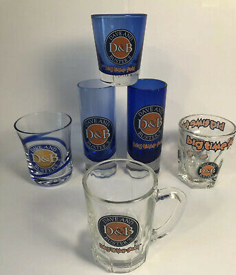 Dave & Busters Shot Glasses. D & B Shot Glass Lot. Various Sizes. Blue / Clear