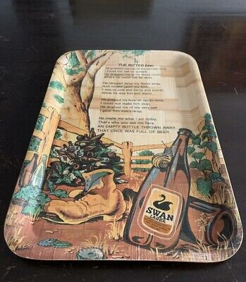 Vintage Retro Swan Lager The Bitter End poem collectable serving tray MAN CAVE