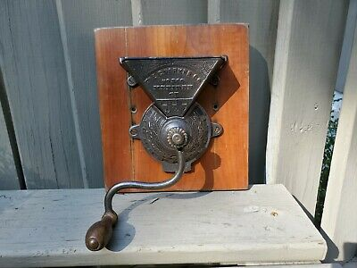 The C PARKER Co. #360 Antique Cast Iron Coffee Grinder Side Mill MERIDEN CT
