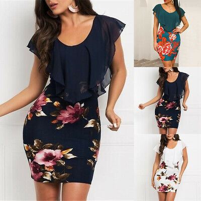 Womens Plus Size Boho Retro Bodycon Dresses Casual Floral Sleeveless Mini Dress