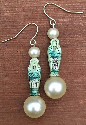 Vintage Green Stone Sarcophagus Faux Pearl Ancient Egyptian Inspired Earrings