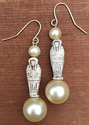 Vintage White Stone Sarcophagus Faux Pearl Ancient Egyptian Inspired Earrings