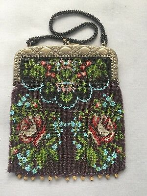 Antique Beaded Purse Floral Design Excellent Condition, Beautiful, Free Shipping