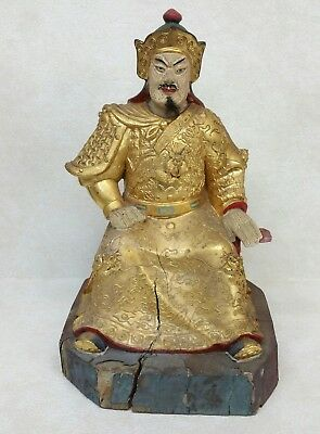 Antique Chinese Gilted Gold and Polychrome Carved Wood Seated Temple Figure