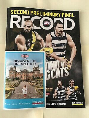 2019 AFL Second Preliminary Final Record Richmond V Geelong