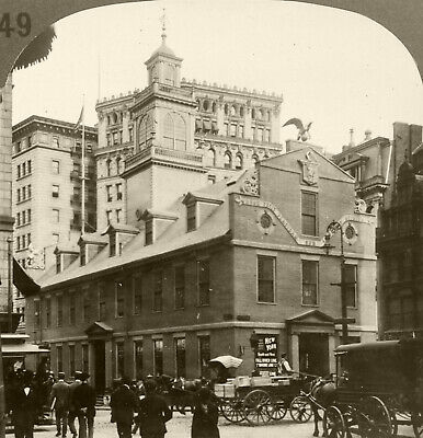 Keystone Stereoview Old State House, Boston, MA Rare 1930's History Set # H49 DN