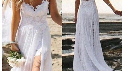 Appliqueous beach wedding dress with spaghetti straps and lace and long chiffon