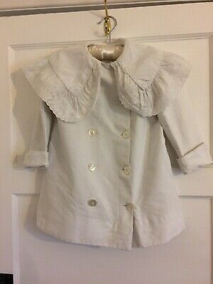 Vintage Childs Coat White with Mother of Pearl buttons