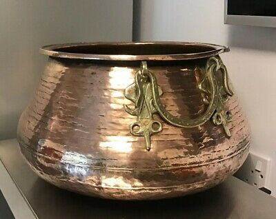 Vintage PERSIAN HAMMERED COPPER Planter Cauldron COOKING Pot with BRASS Handles