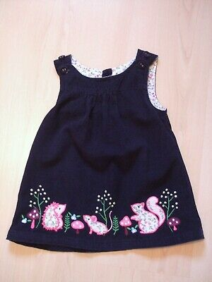 "JOJO MAMAN BEBE NAVY CORD ""SQUIRREL HEDGEHOG MOUSE"" DRESS  AGE 12 - 18  months"