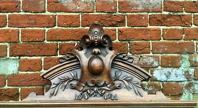 Extra Large Solid Wood Mahogany Carved Ornate Antique French Pediment