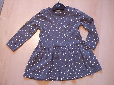 "NEXT GREY ""WHITE TRIANGLE"" THEME COTTON  TUNIC DRESS  AGE 12 - 18  months"