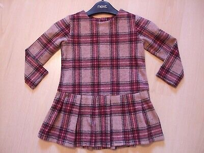 NEXT CHECKED PLEATED SOFT FEEL DRESS  AGE 12 - 18  months