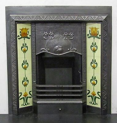 "Antique Victorian Art Nouveau 36""x38"" Tiled Insert Fireplace"