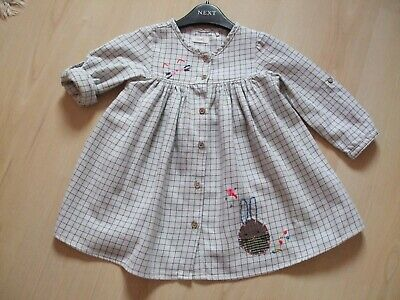 "NEXT GREY/NAVY CHECK  ""RABBIT"" THEME  DRESS  AGE 12 - 18  months"