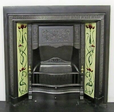 "Original Victorian Cast Iron 38""x38"" Tiled Insert Fireplace with Brass Finials"