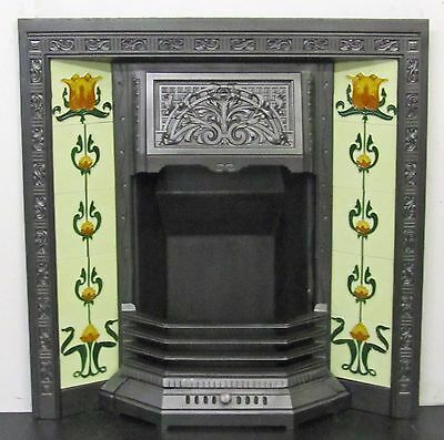 "Antique Victorian Art Nouveau 34""x36"" Tiled Insert Fireplace"