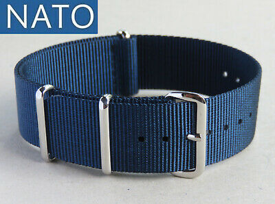 BRACELET MONTRE NATO 22mm bleu navy chronograph watch mechanical military band