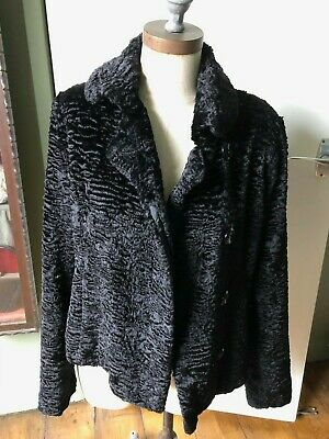 Vintage 90'S Black Faux Astrakhan Fur Jacket Uk 10 12