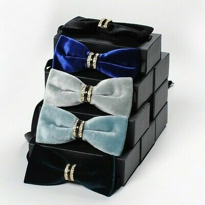 Men Velvet Bow Tie Retro Solid Diamante Rhinestone Bowties Adjustable New Cute