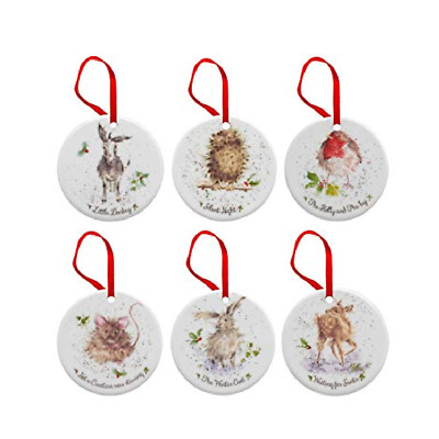 Wrendale Christmas Tree Decorations Set of 6 Fine Bone China by Royal Worcester
