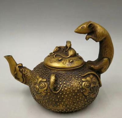 Superb Chinese Old Handwork pure brass twelve zodiac mouse teapot YR