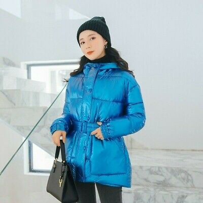 Lady Puffer Coat Padded Jackets Metallic Parka Shiny Quilted Belt Winter Outdoor