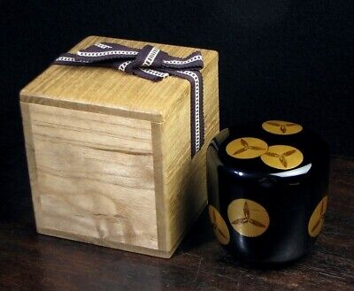 Japanese Vintage Lacquer Wooden makie Natsume Tea caddy  urushi