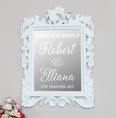 Personalised WEDDING mirror board Welcome sign wall Vinyl Decal Sticker V601
