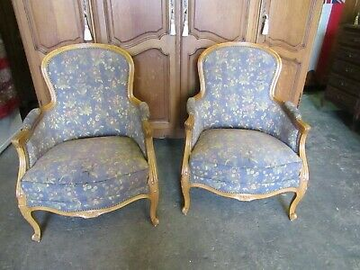 Very pretty pair of French shabby chic carved walnut armchairs,fireside,bedroom