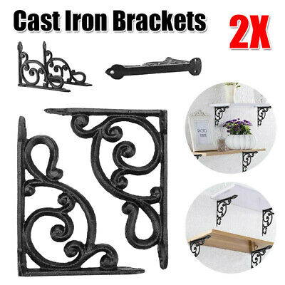 Pair Of Antique Style Cast Iron Brackets Garden Brace Rustic Shelf Bracket Brown