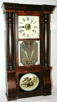 Antique 1880'S Seth Thomas Triple Decker Shelf Clock W/ Original Painted Glass.