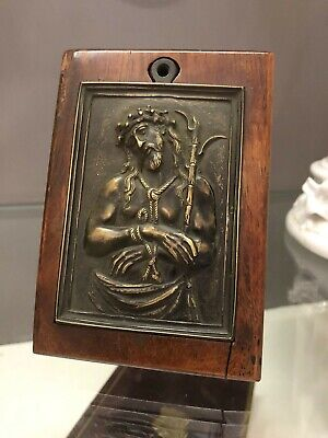 Very Old (18th c? Older?) Framed Bronze Plaque of the Suffering Christ
