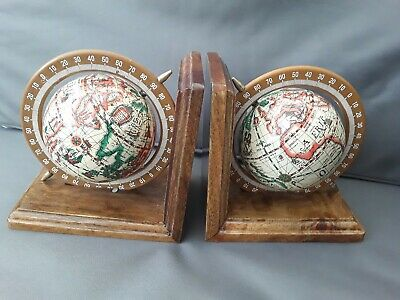 """Pair Of Superb Wooden 'Globe On Axis' Bookends 5.5""""."""