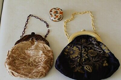 VINTAGE TWO 1920's HANDBAGS (IN NEED OF REPAIR). & COTY POWDER PUFF.