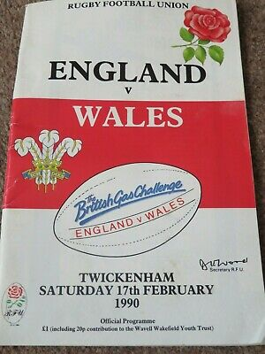 England Wales Rugby Union Twickenham Feb 1990 Match Programme