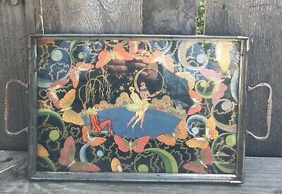 Antique Harlequin & Butterfly Glass & Metal Serving Tray Gilded French Design