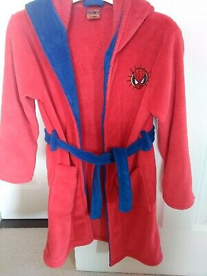 Boys Red Spiderman Dressing Gown Age 7/8 - Good Condition