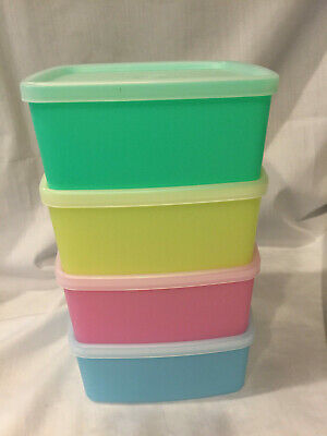 NOS Vintage Square Round Tupperware Containers/Lids Pastel  311 310